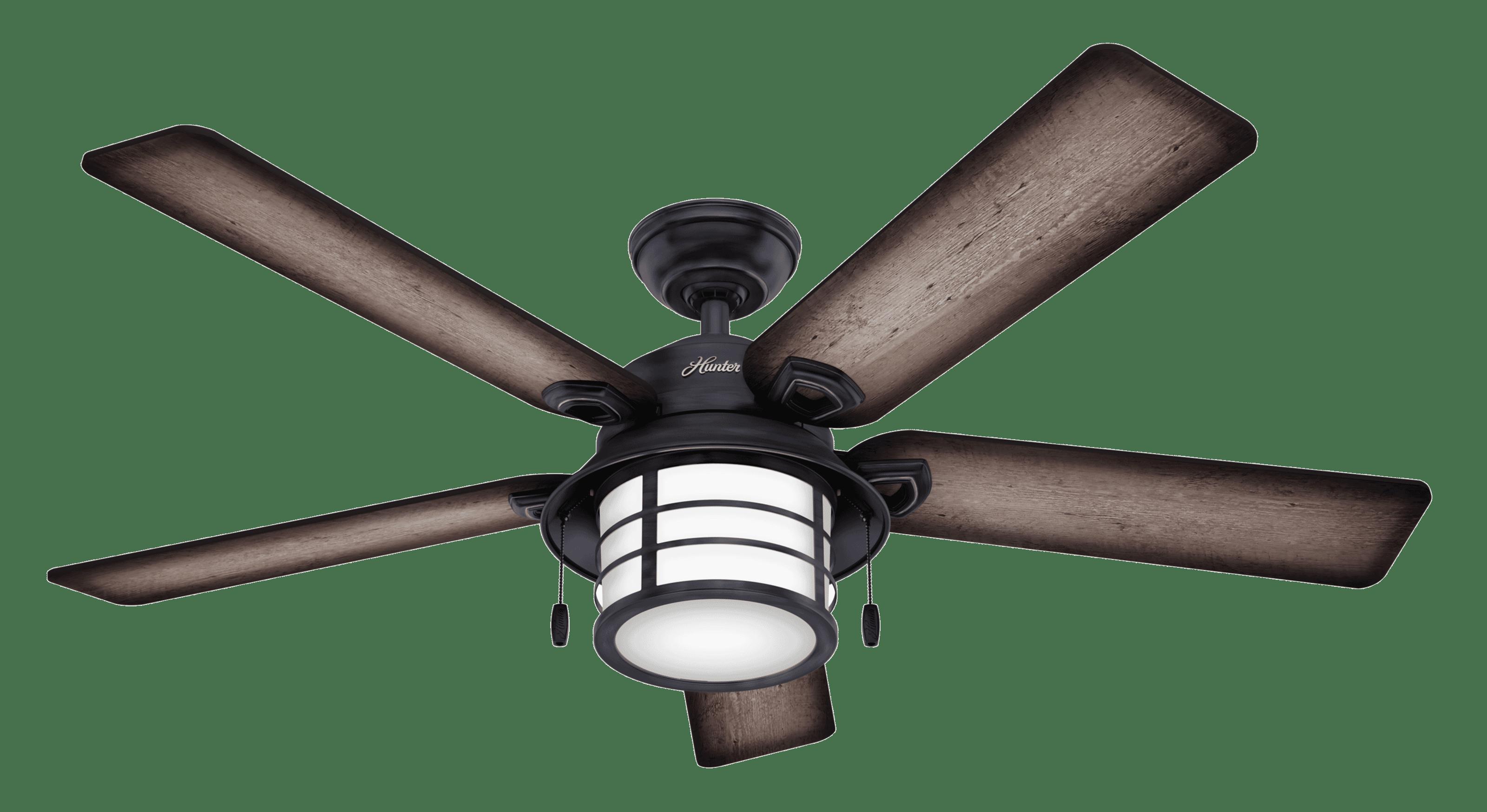 Hunter Fans Key Biscayne 2 Light 54 Indoor Outdoor Ceiling Fan In Weathered Zinc